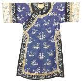 Embroidered Silk Blue Ground Informal Robe, Late