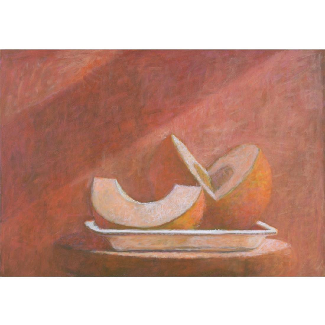 "Kipp Stewart ""Still Life with Melon"" oil on canvas"