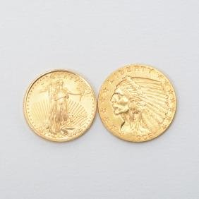 Us Lot Of Two Gold Coins