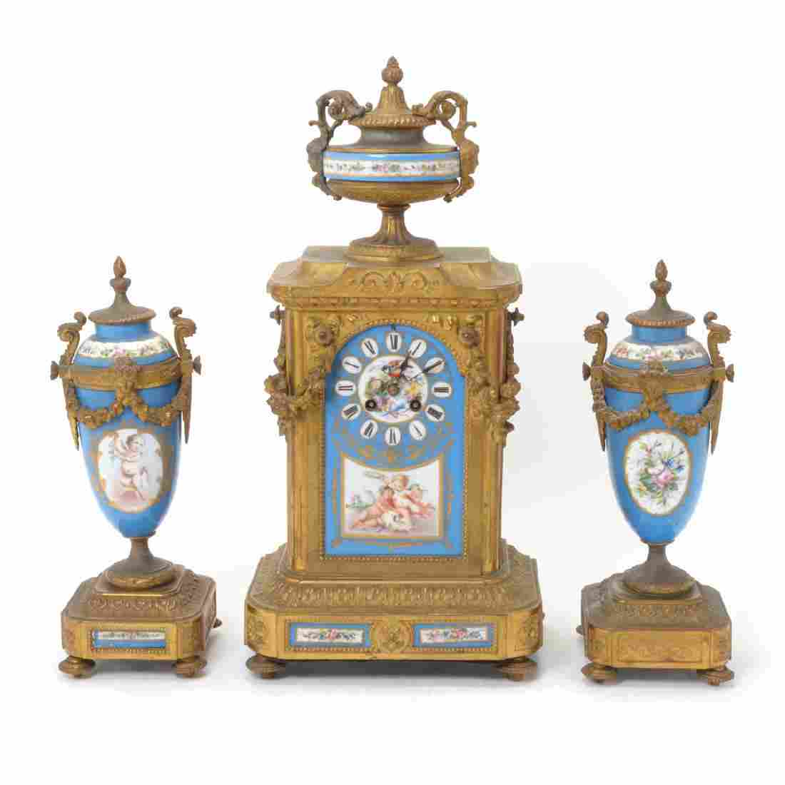 Louis XV Style Gilt Bronze Mounted Porcelain Clock