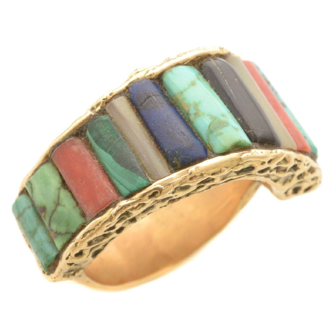 *Men's Native American Multi-Stone, 14k Yellow Gold