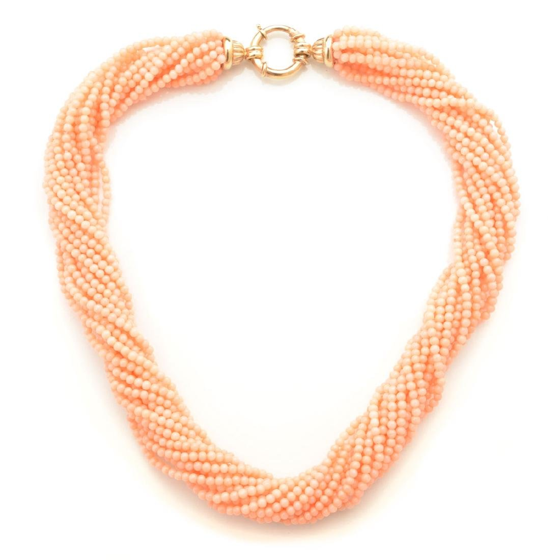 *Coral, 14k Yellow Gold Necklace.