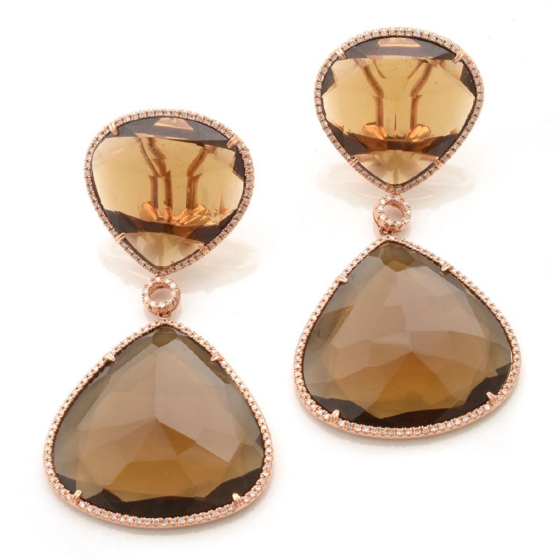 Pair of Smoky Quartz, Diamond, 14k Rose Gold Earrings.