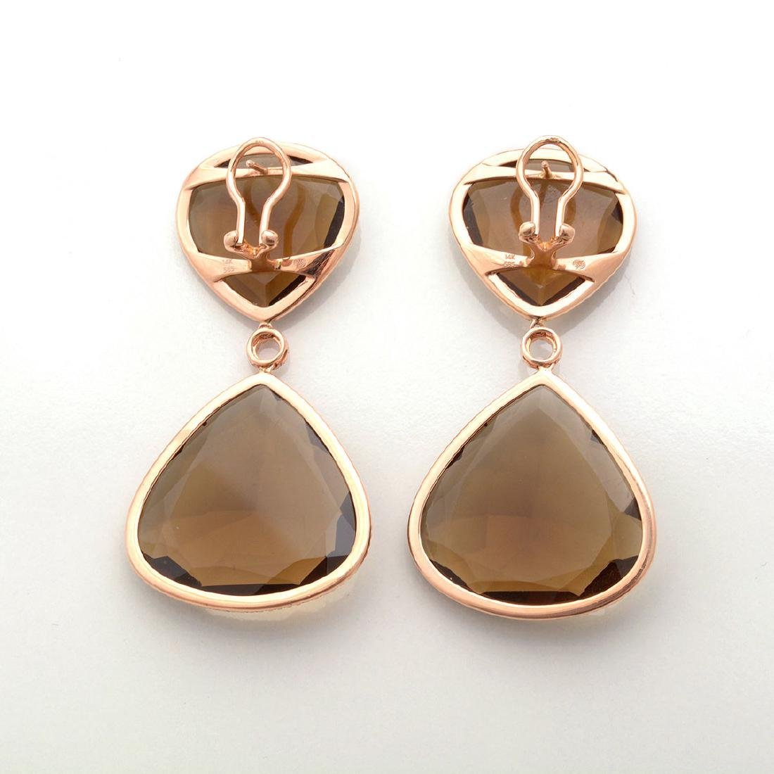Pair of Smoky Quartz, Diamond, 14k Rose Gold Earrings. - 3