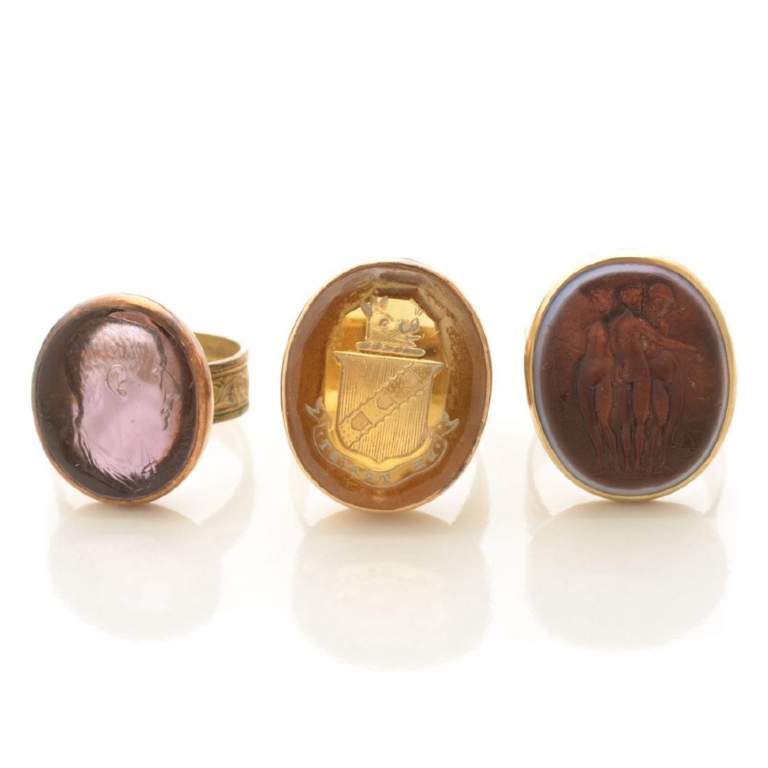 Collection of Three Multi-Stone Intaglio, Yellow Gold,