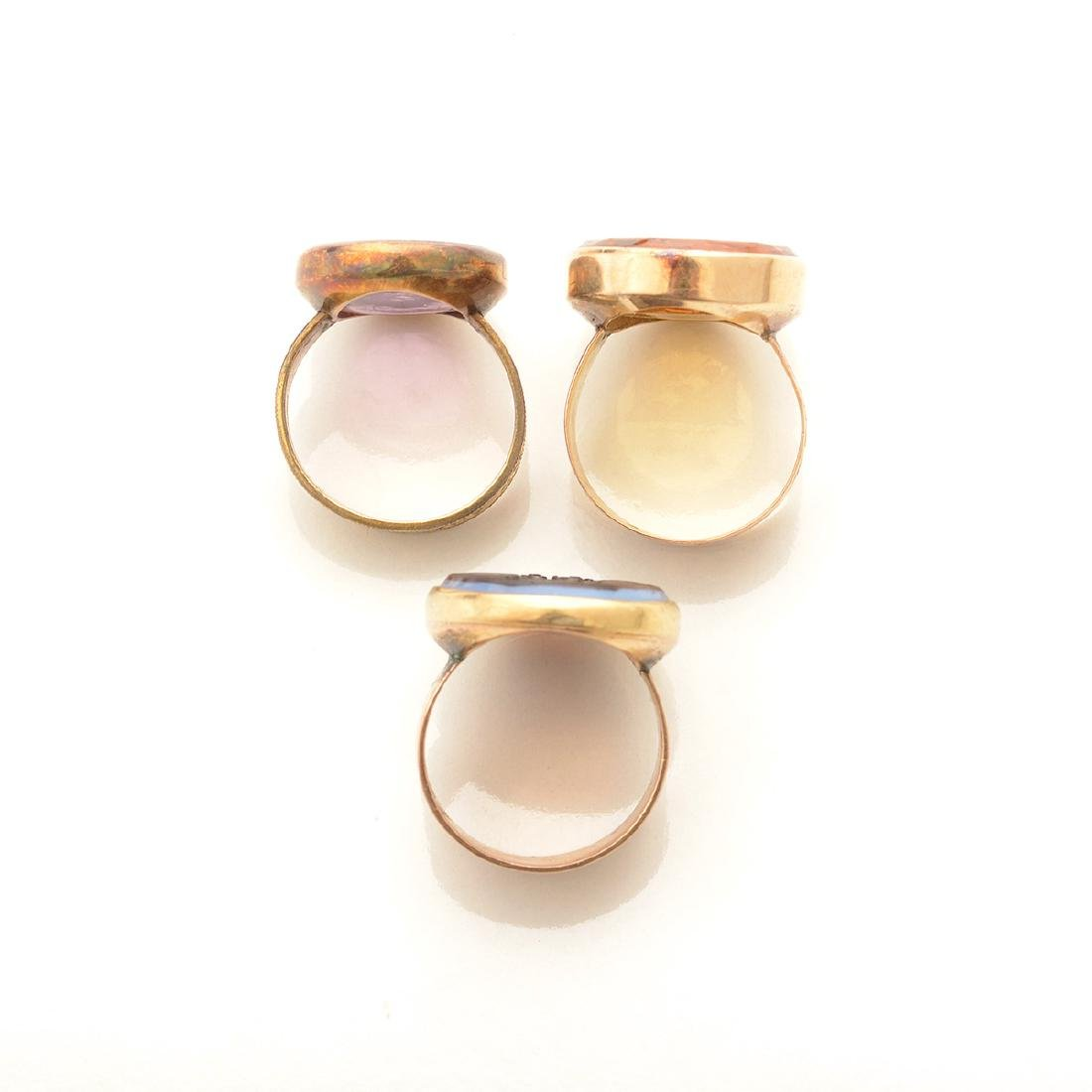 Collection of Three Multi-Stone Intaglio, Yellow Gold, - 5