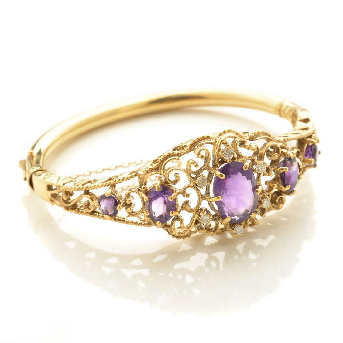 Amethyst, Diamond, 14k Yellow Gold Bracelet.