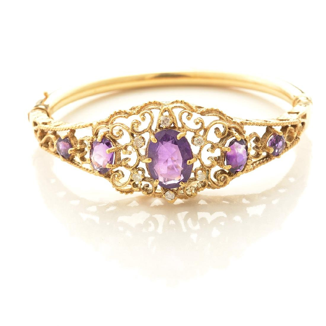 Amethyst, Diamond, 14k Yellow Gold Bracelet. - 2