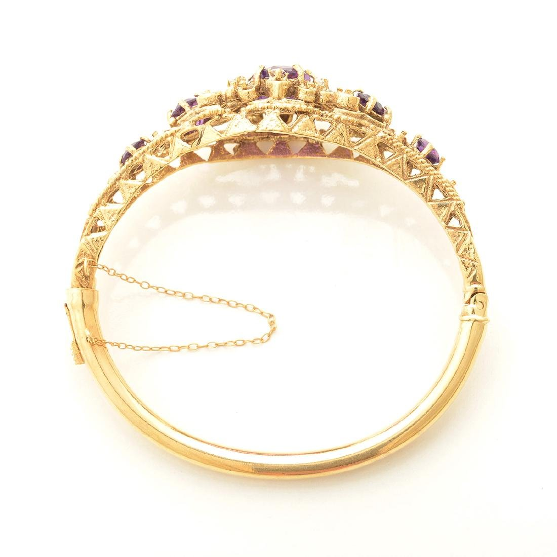 Amethyst, Diamond, 14k Yellow Gold Bracelet. - 3