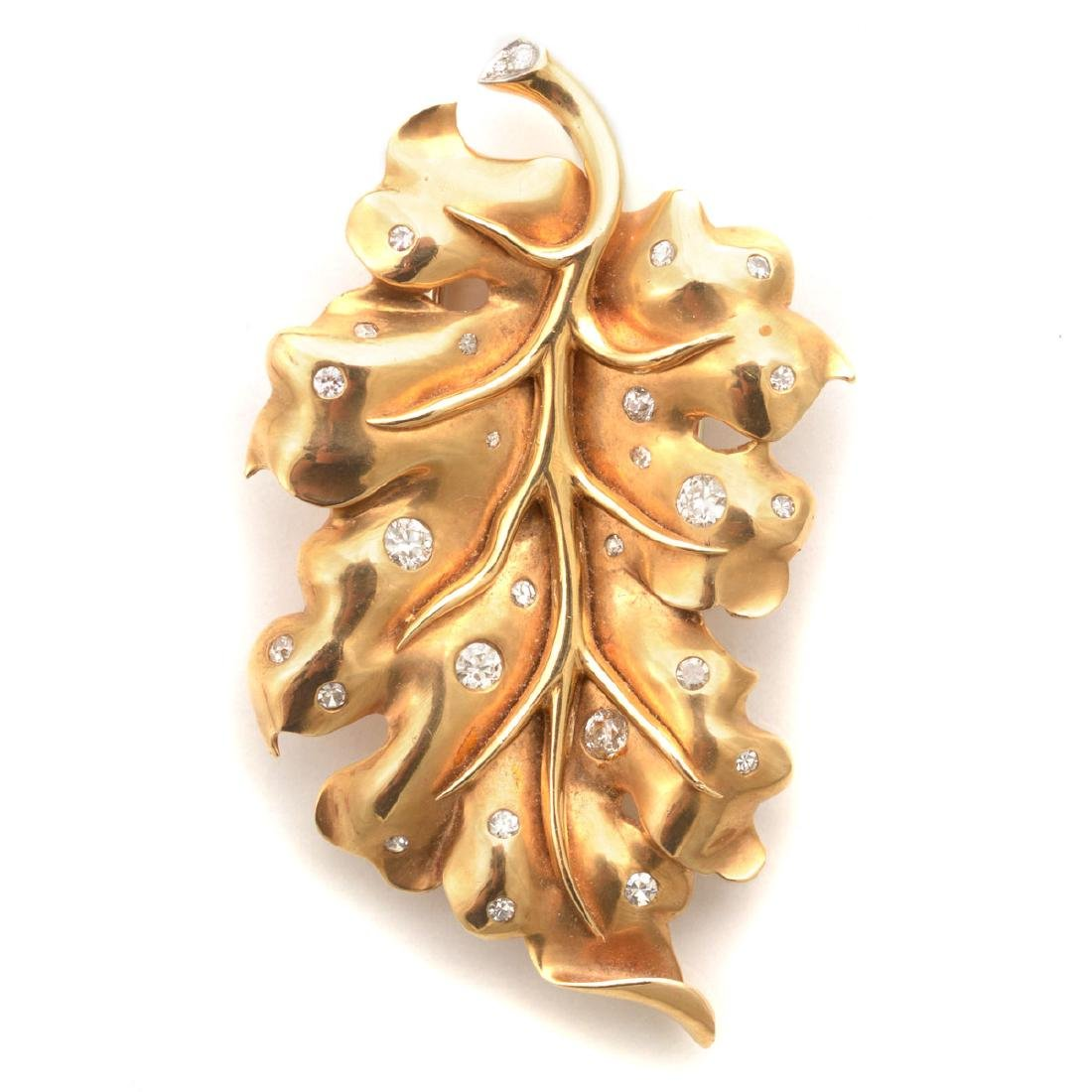 Diamond, 14k Yellow Gold Leaf Brooch.