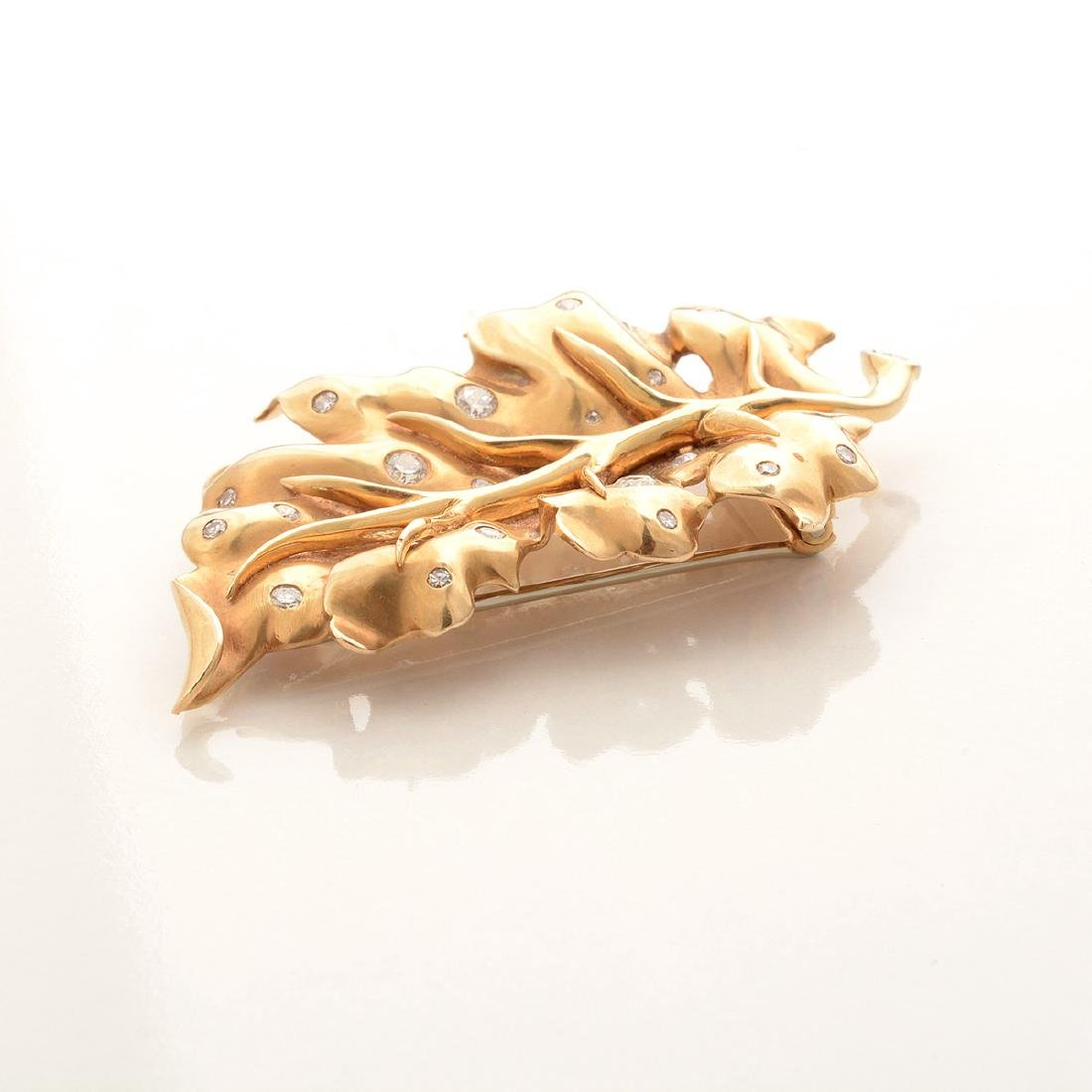 Diamond, 14k Yellow Gold Leaf Brooch. - 3