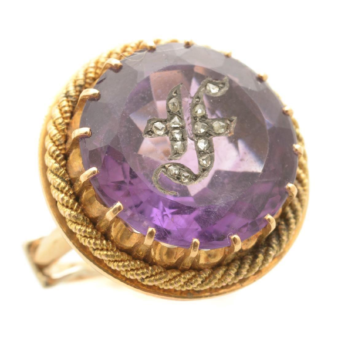 Amethyst, Diamond, 14k Yellow Gold Ring.