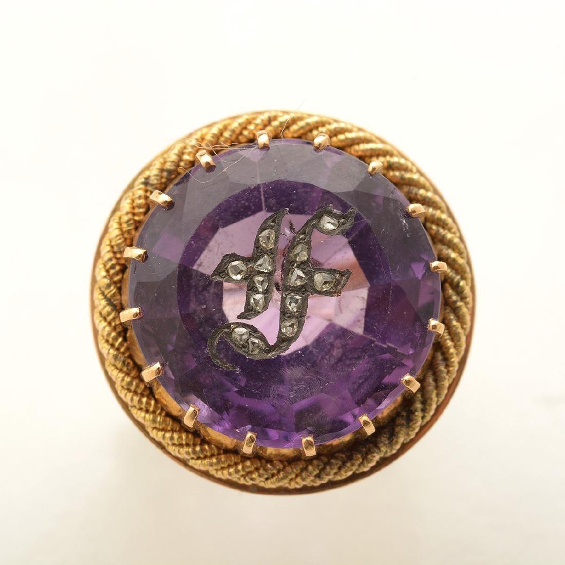 Amethyst, Diamond, 14k Yellow Gold Ring. - 2