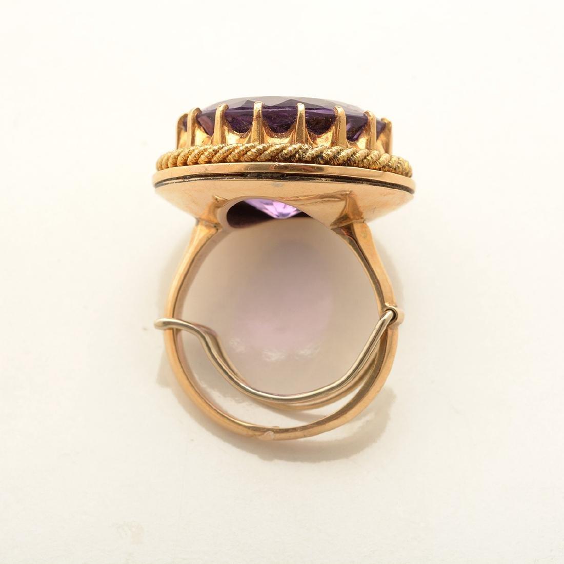 Amethyst, Diamond, 14k Yellow Gold Ring. - 3