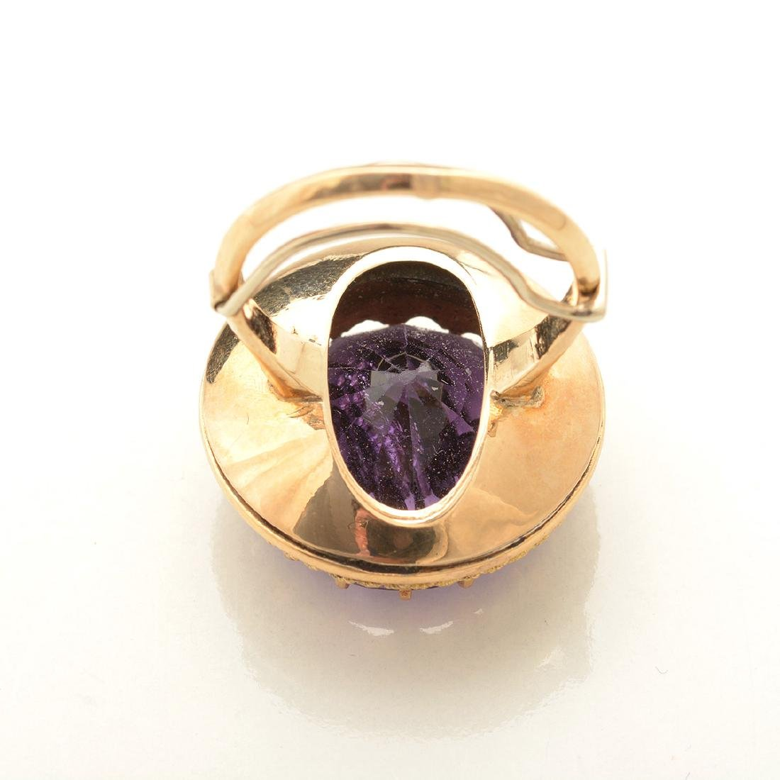 Amethyst, Diamond, 14k Yellow Gold Ring. - 4