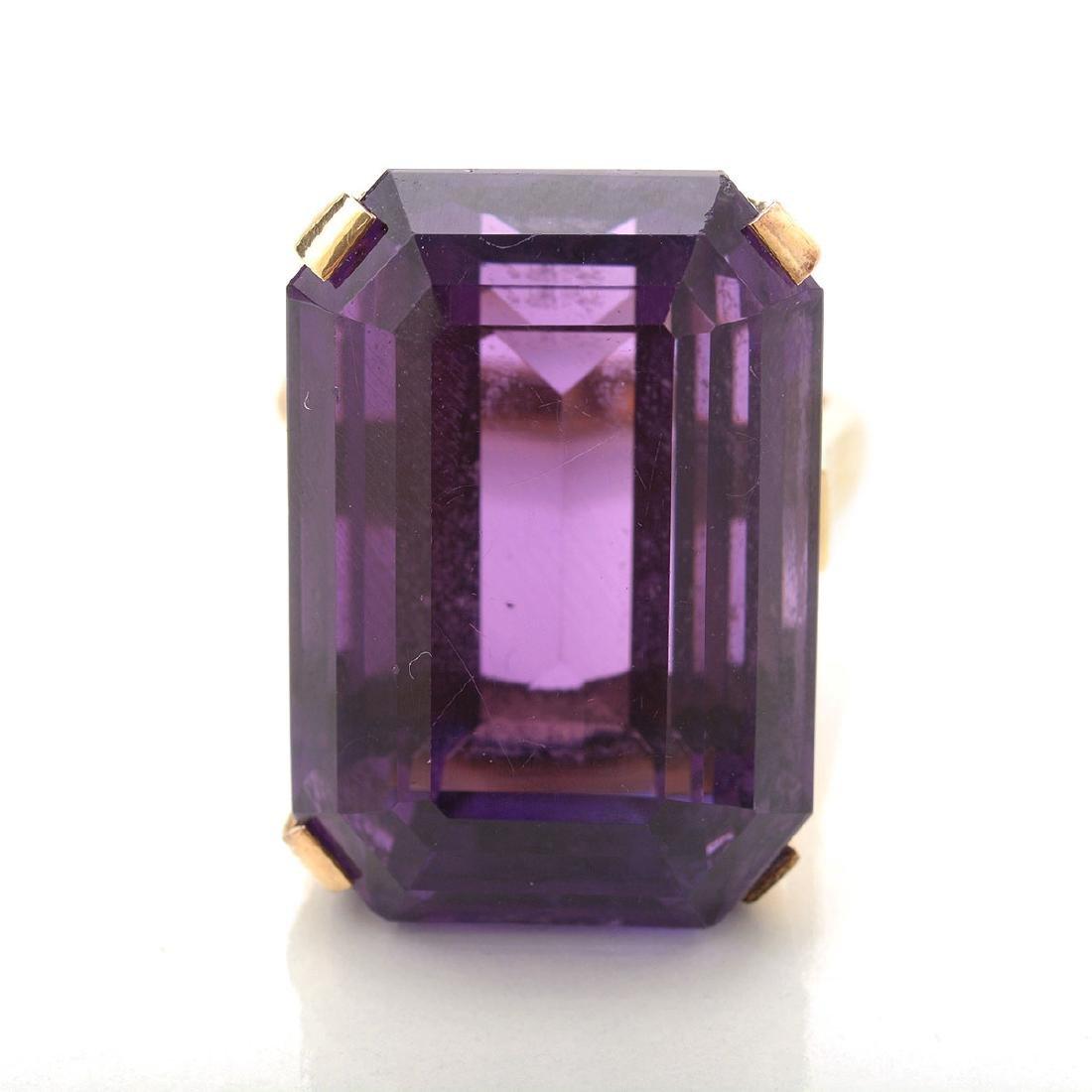 Amethyst, 14k Yellow Gold Ring. - 2