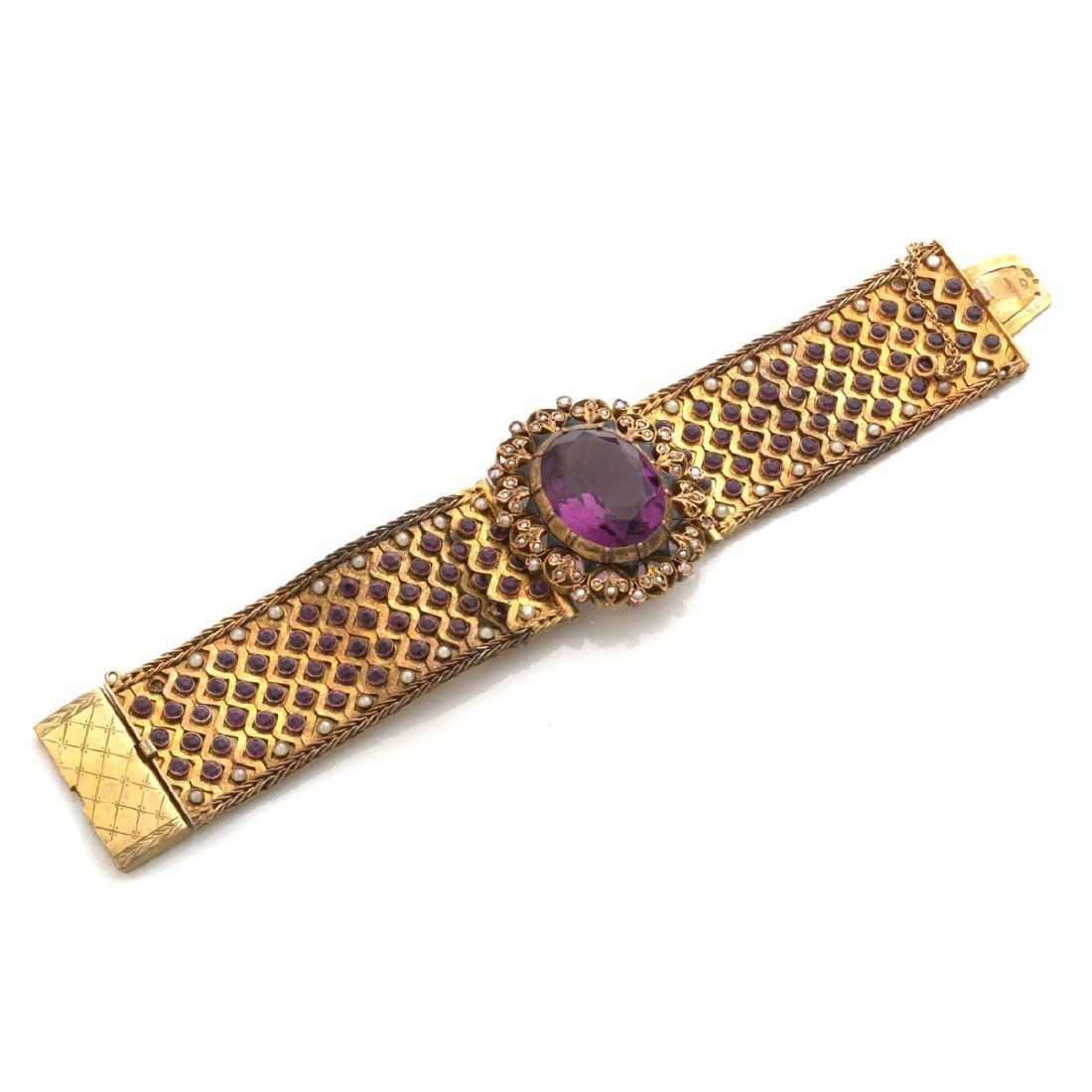Hungarian Purple Glass, Seed Pearl, Enamel, Silver-Gilt