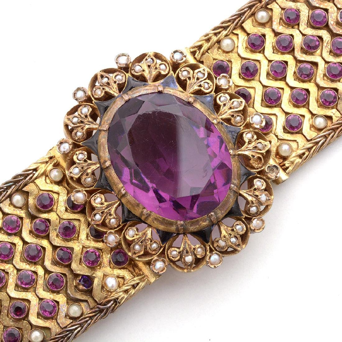 Hungarian Purple Glass, Seed Pearl, Enamel, Silver-Gilt - 2