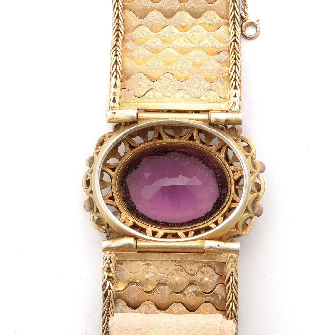 Hungarian Purple Glass, Seed Pearl, Enamel, Silver-Gilt - 5
