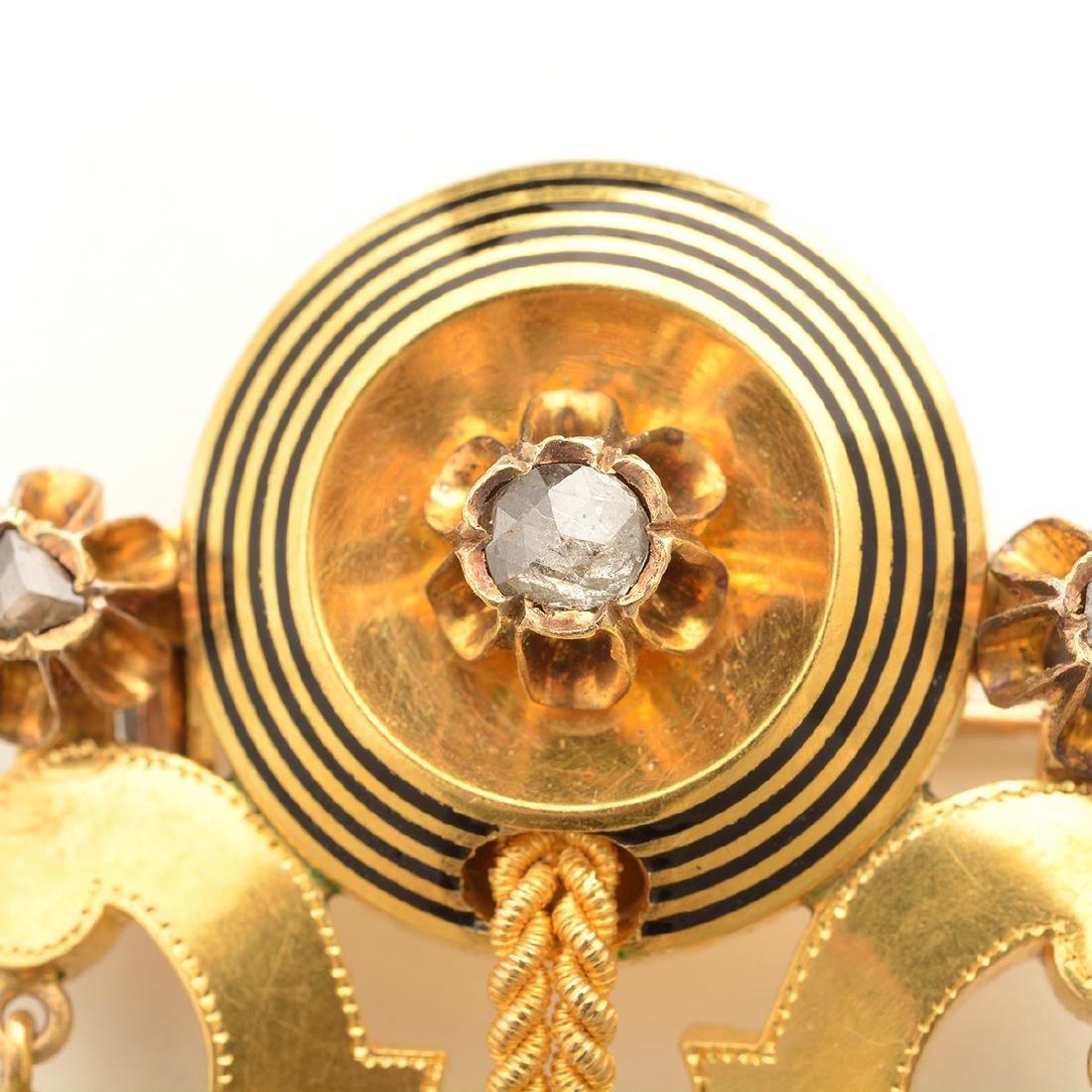 Victorian Etruscan Revival Diamond, Enamel, 14k Yellow - 2