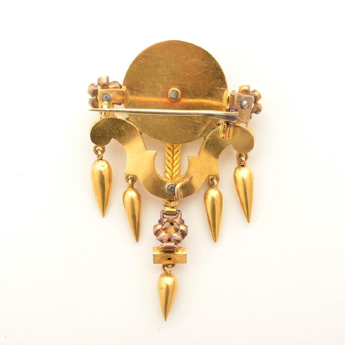 Victorian Etruscan Revival Diamond, Enamel, 14k Yellow - 5