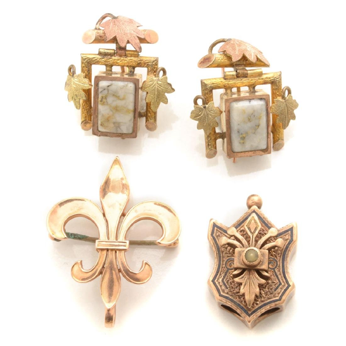 Collection of Victorian Gold-n-Quartz, Enamel, Seed