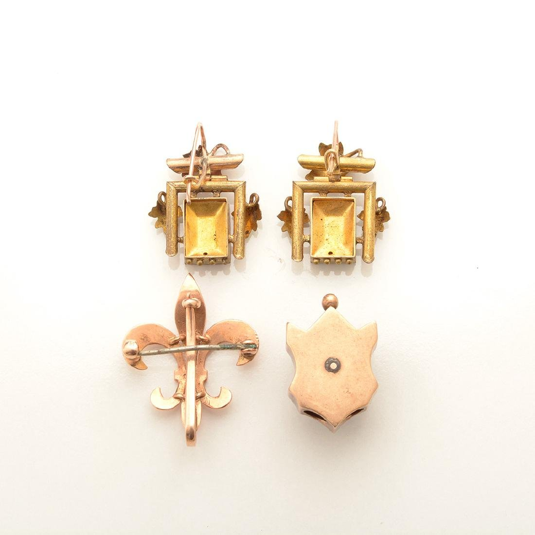 Collection of Victorian Gold-n-Quartz, Enamel, Seed - 4
