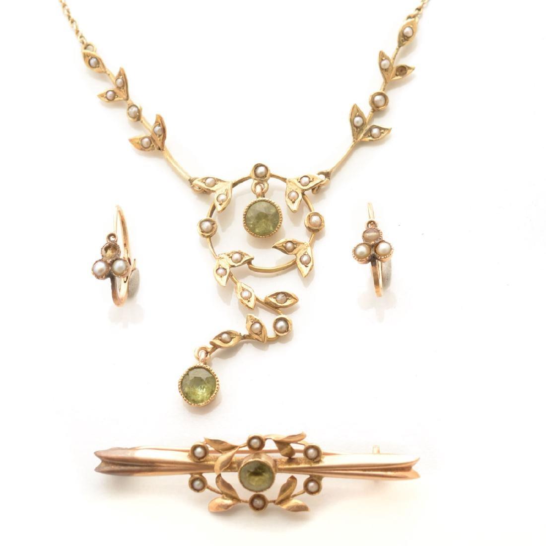 Art Nouveau Peridot, Seed Pearl, 14k Yellow Gold