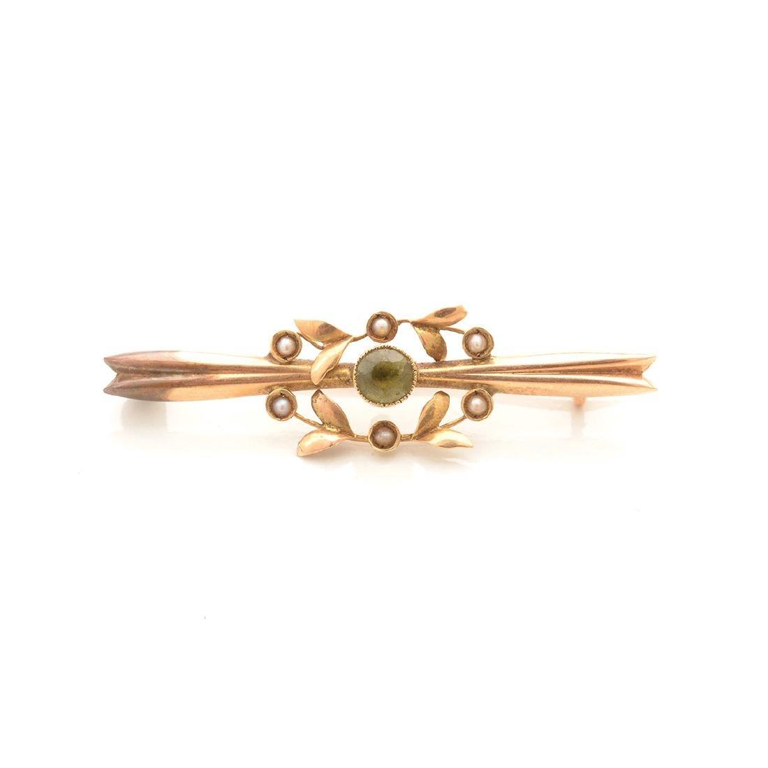 Art Nouveau Peridot, Seed Pearl, 14k Yellow Gold - 2