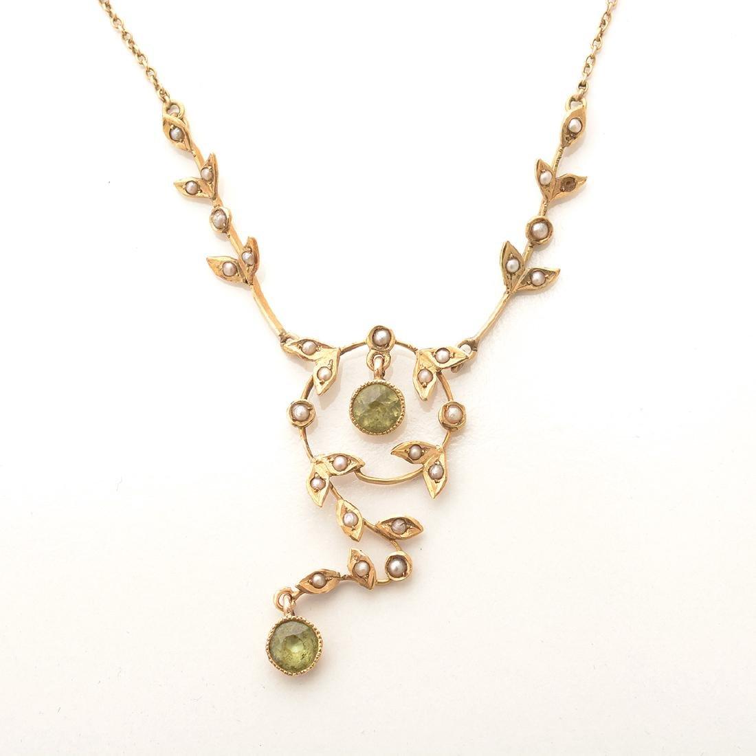 Art Nouveau Peridot, Seed Pearl, 14k Yellow Gold - 3