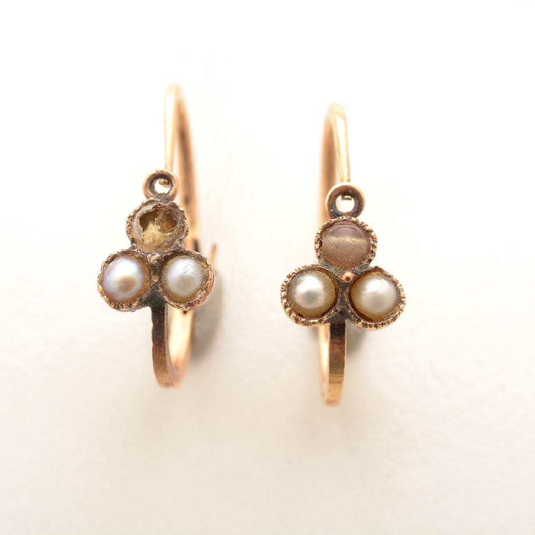 Art Nouveau Peridot, Seed Pearl, 14k Yellow Gold - 4