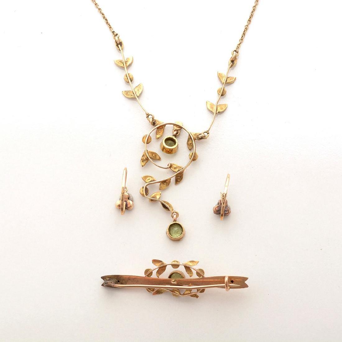 Art Nouveau Peridot, Seed Pearl, 14k Yellow Gold - 5