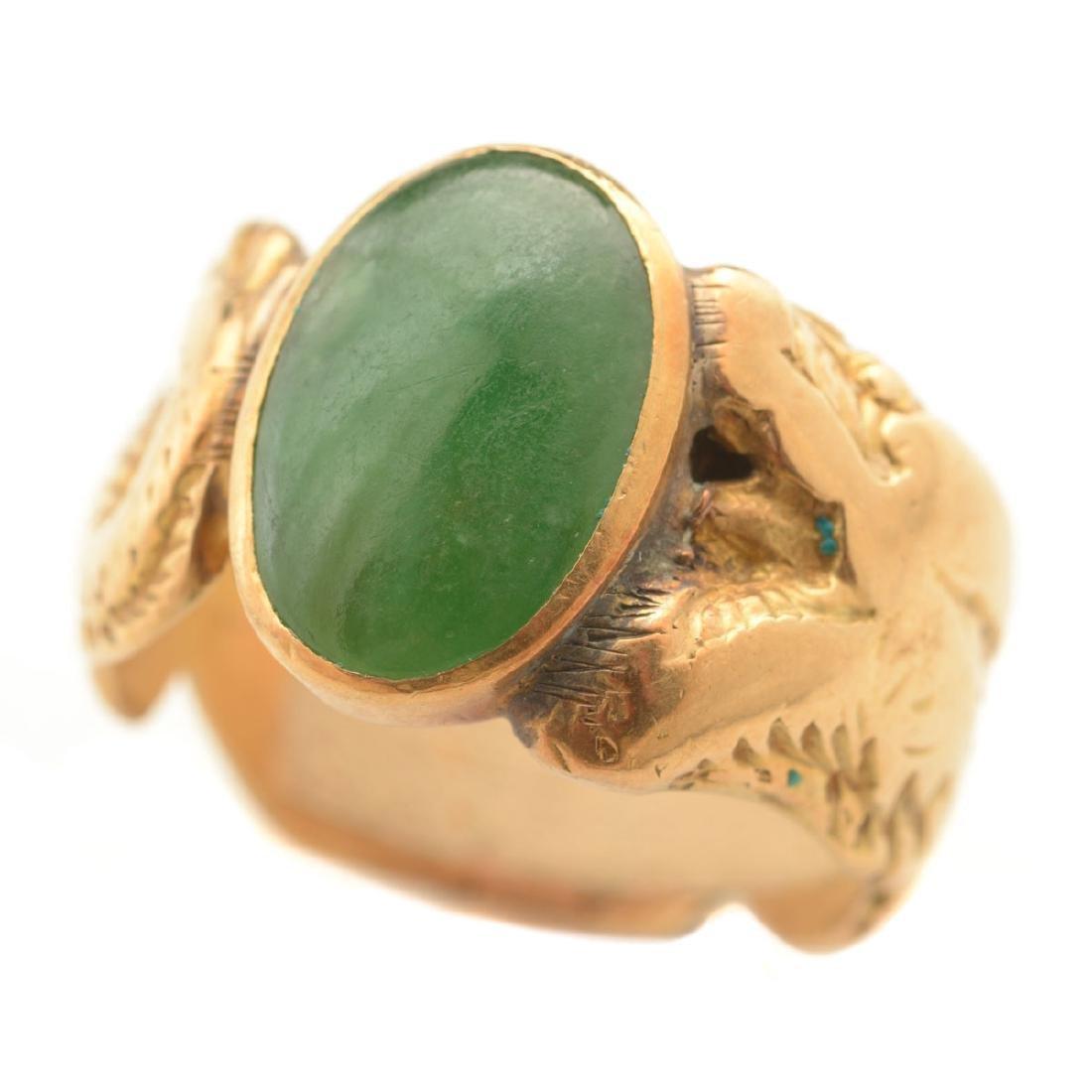 Jade, 14k Yellow Gold Ring.
