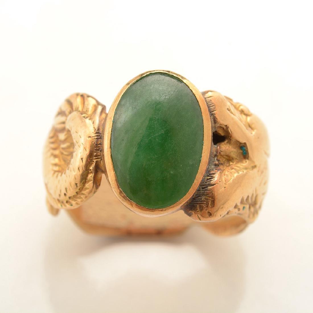 Jade, 14k Yellow Gold Ring. - 2