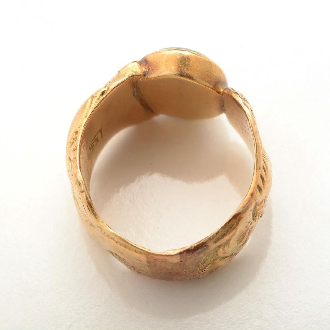 Jade, 14k Yellow Gold Ring. - 3
