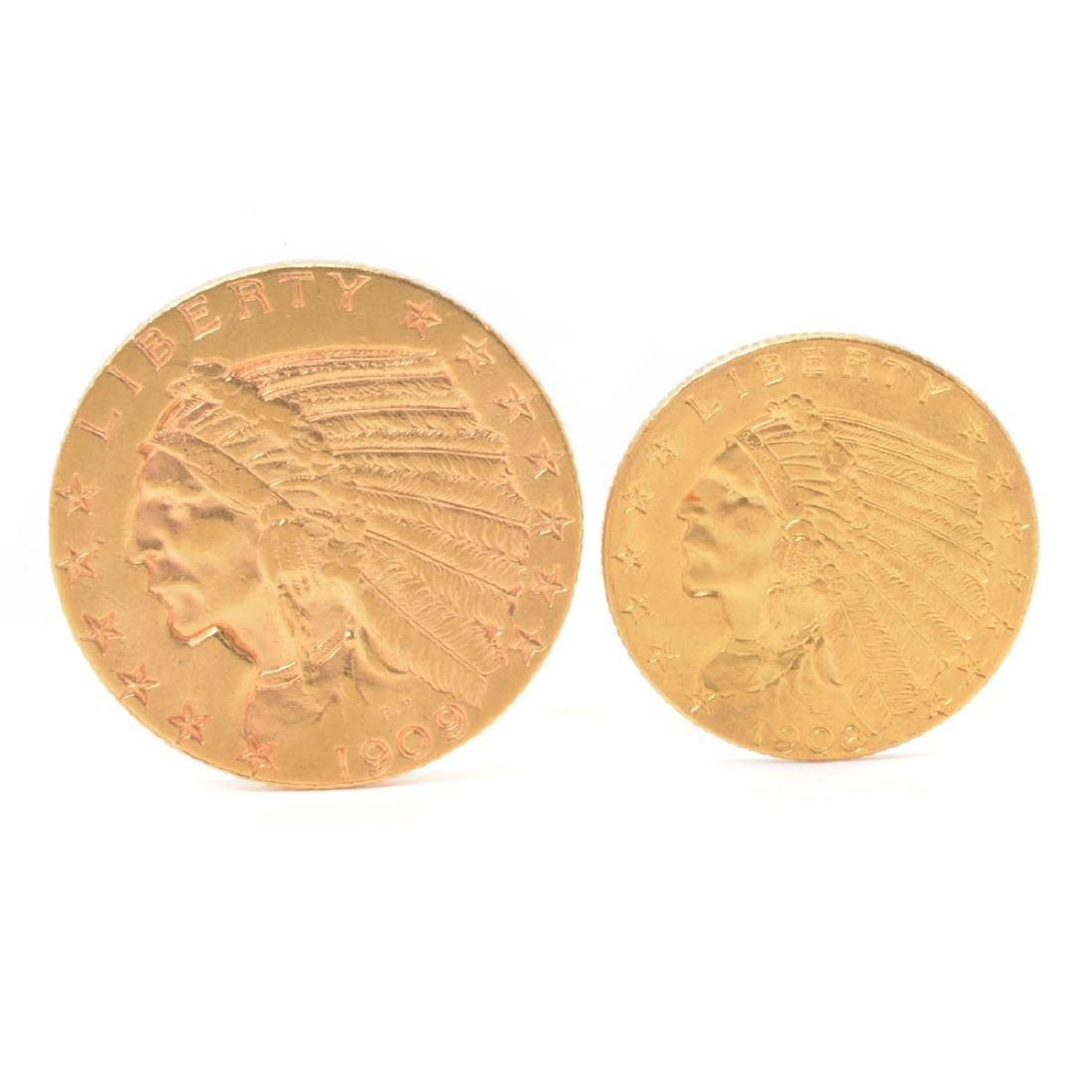 Lot of 2 US 1909(D) Indian Head $5.00 and 1908 Indian