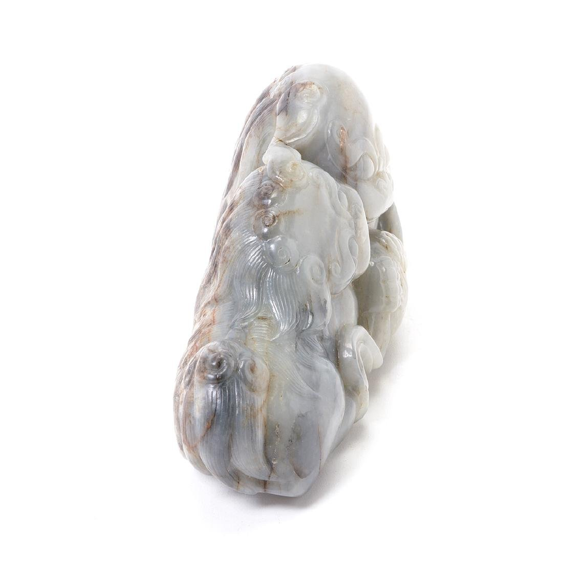 Gray Jade Buddhist Lion Figural Group - 3