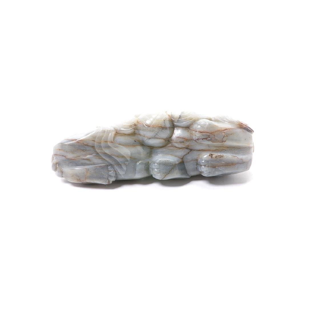 Gray Jade Buddhist Lion Figural Group - 6