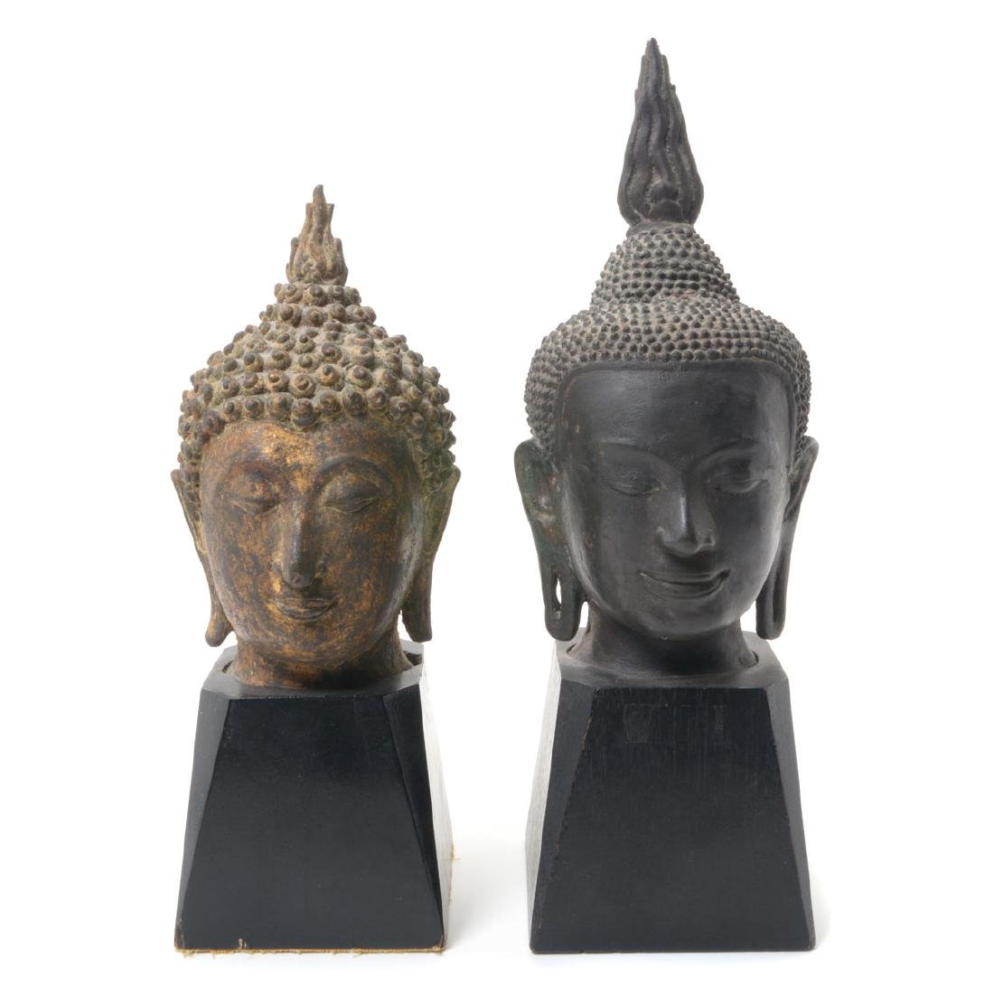 Two Bronze Buddha Heads, 19th/20th C