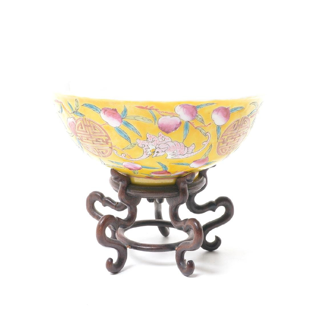 Pair of Famille Rose Yellow Ground Bowls, Early 20th C - 2