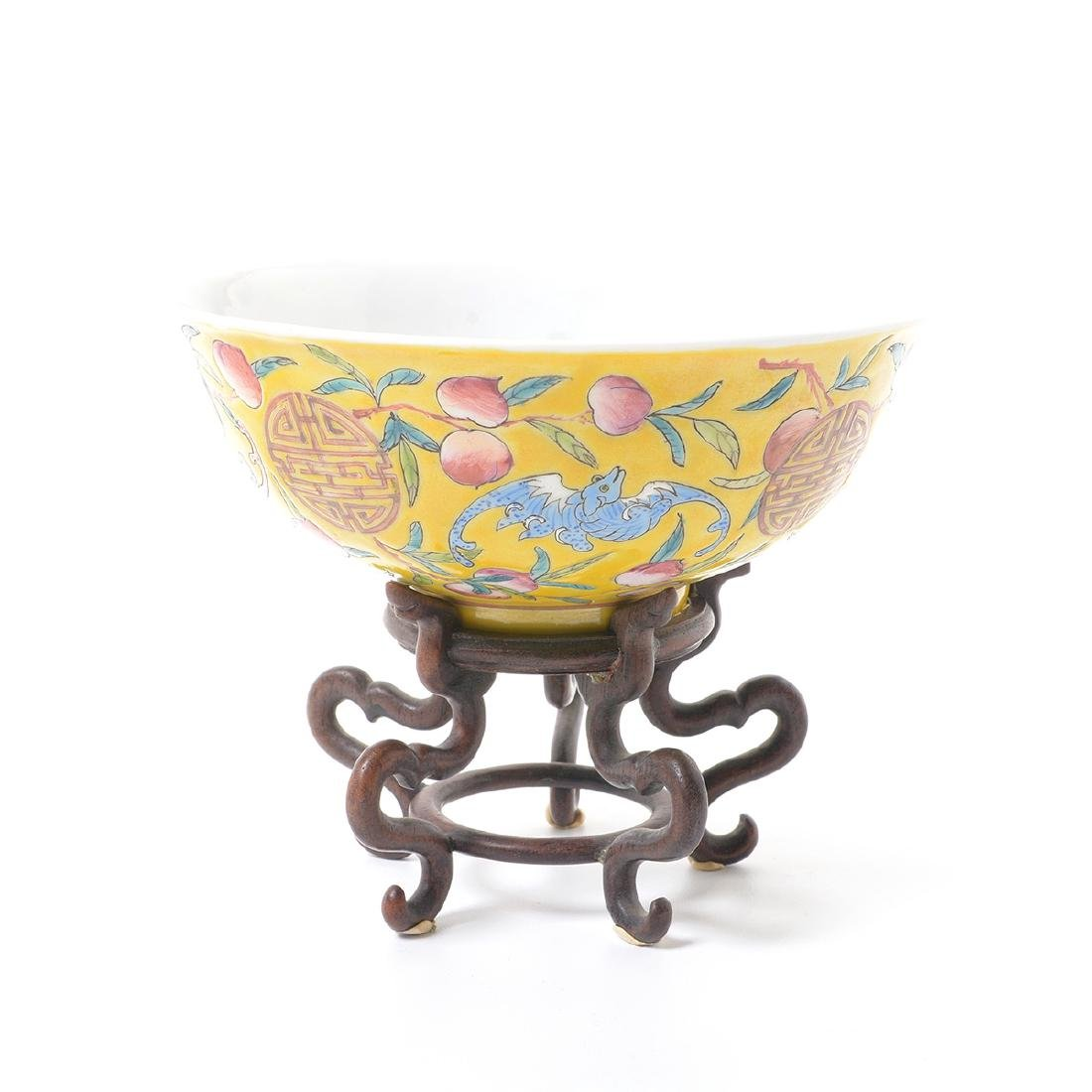 Pair of Famille Rose Yellow Ground Bowls, Early 20th C - 3
