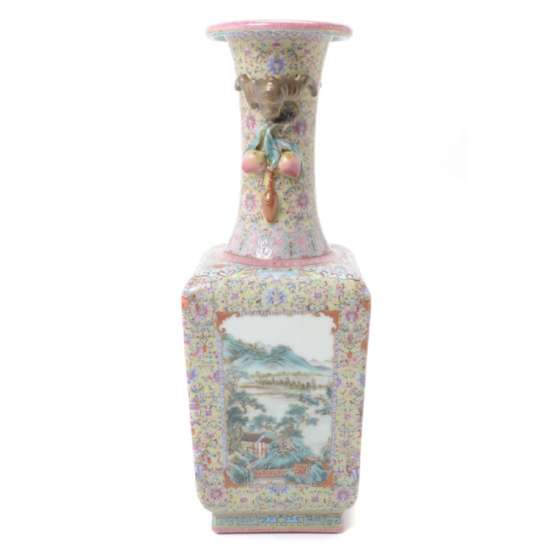 Famille Rose Square Form Vase, Republic Period