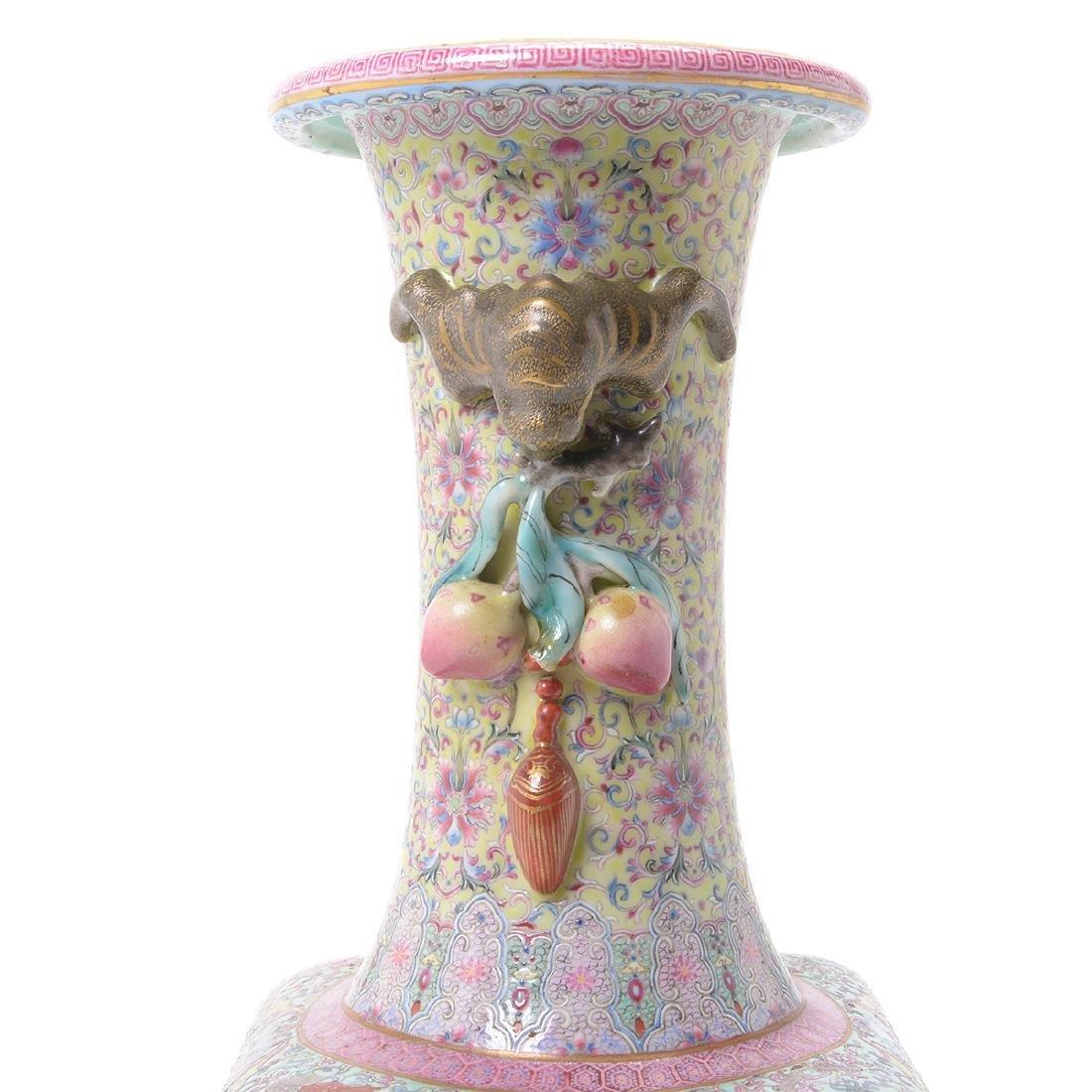 Famille Rose Square Form Vase, Republic Period - 2