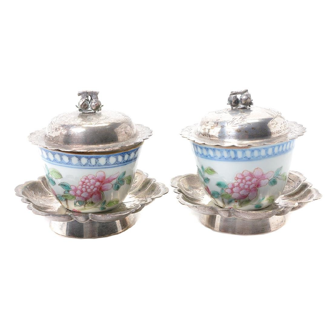 Pr of Famille Rose Cups with Silver Lids & Stands,