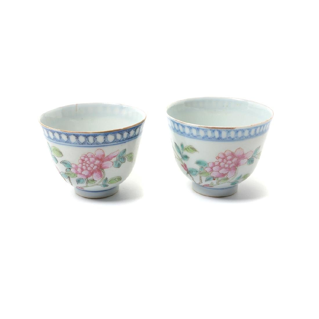 Pr of Famille Rose Cups with Silver Lids & Stands, - 2