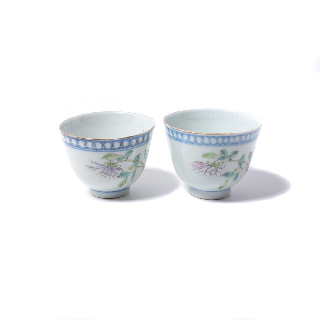 Pr of Famille Rose Cups with Silver Lids & Stands, - 3