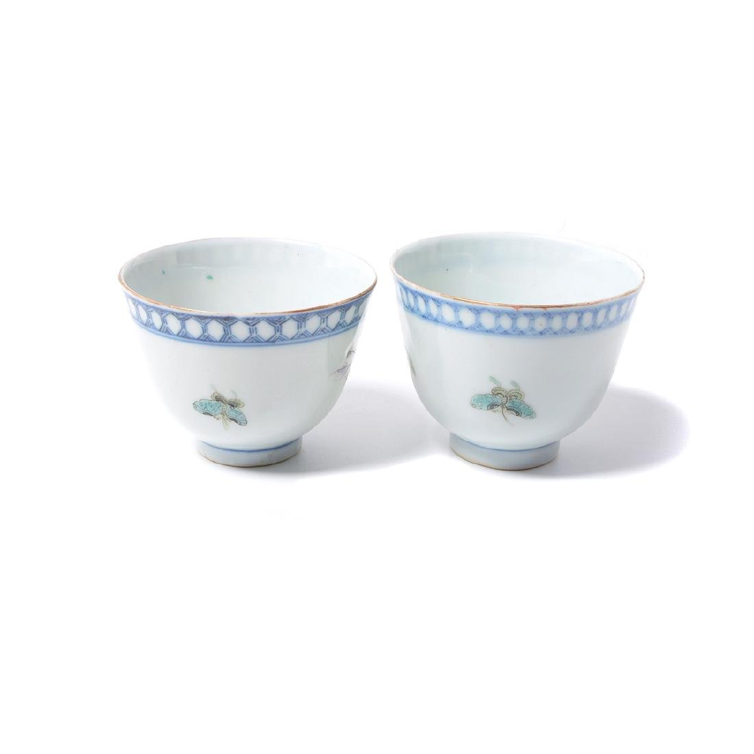Pr of Famille Rose Cups with Silver Lids & Stands, - 4