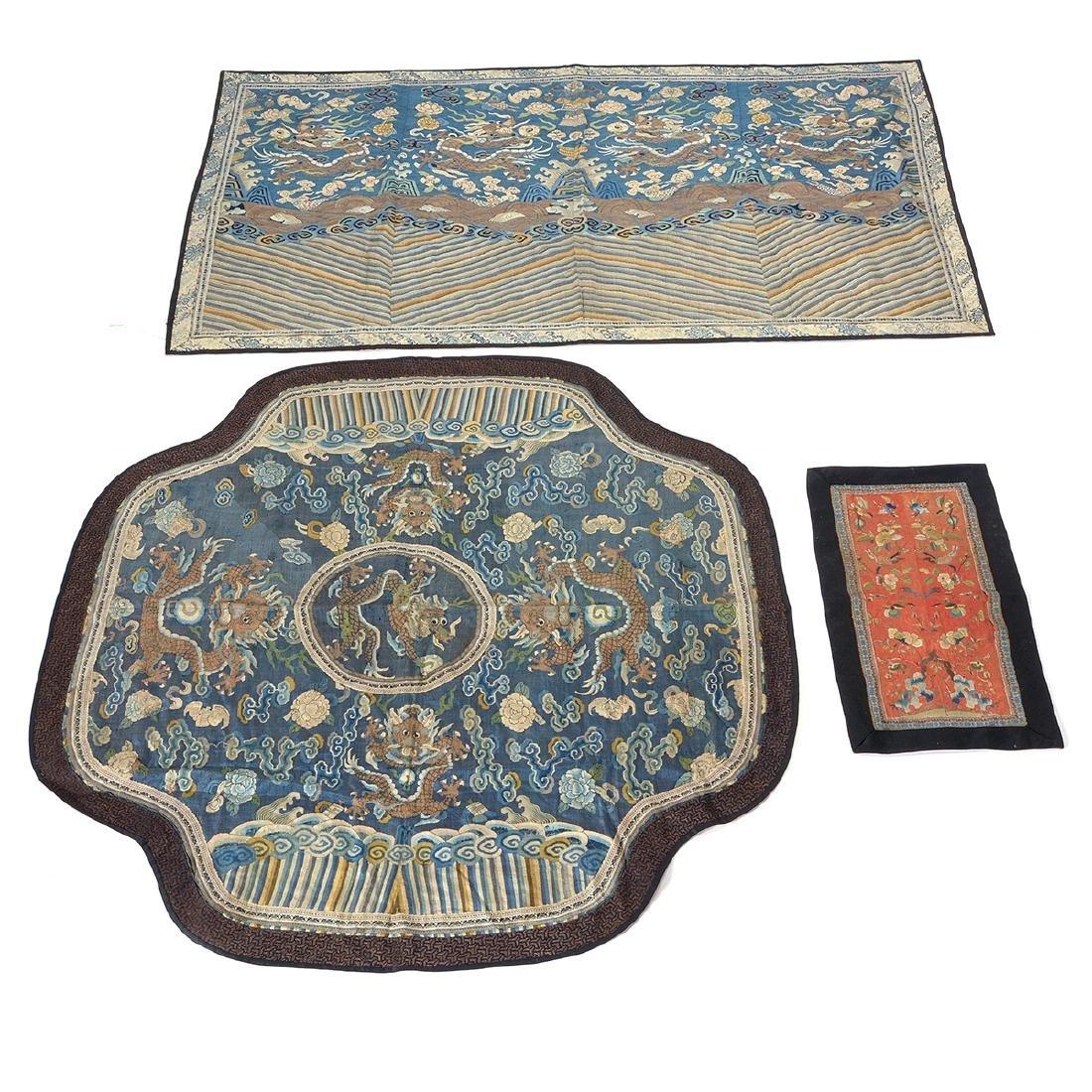 Three Embroidered Silk Panels