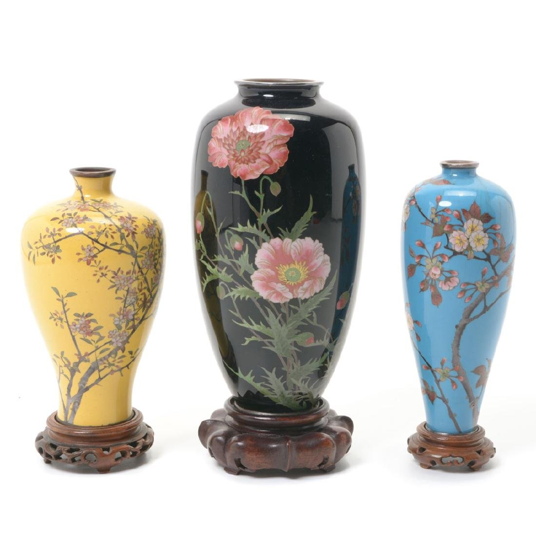 Three Japanese Cloisonne Enamel Vases, Late 19th C.