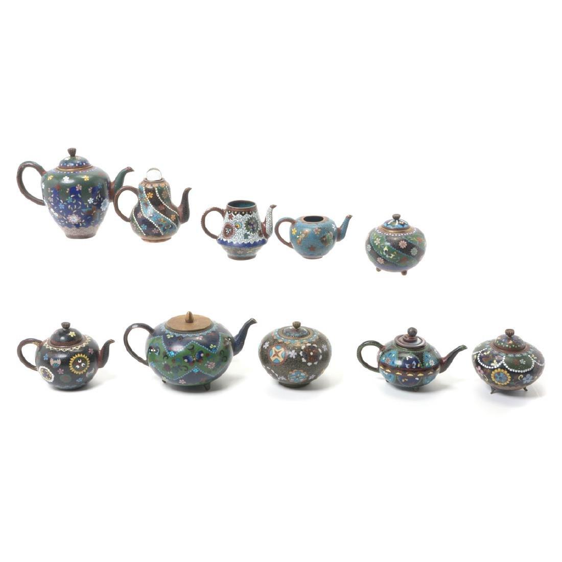 Ten Japanese Cloisonne Enamel Teapots, Meiji Period